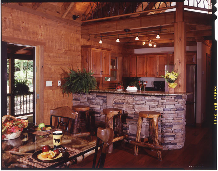 Landmark log homes kitchen images for Log home kitchens gallery